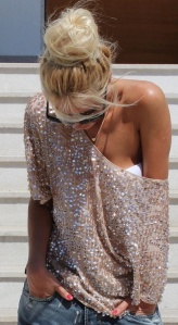 glitter sweater, off the shoulder, shirt